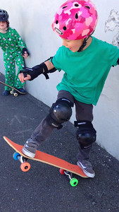 Connor doing his best to impress the other skateboarding kids at QAE.