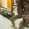 140416 Sheriff training JOED VIERA/STAFF PHOTOGRAPHER-Lockport, NY-Sheriff deputies carry out a wounded Firefighter at Desales Catholic School during a training exercise April 16, 2014.