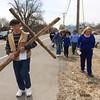 140418 Cross walk JOED VIERA/STAFF PHOTOGRAPHER-Barker, NY- Roy Williams  carries the cross during Barker's multiple congregational cross walk April 18, 2014.