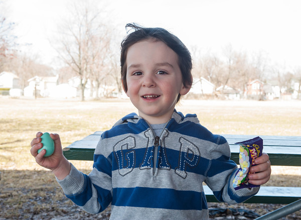 142410 Easter Eggs JOED VIERA/STAFF PHOTOGRAPHER-Lockport, NY-Jack Martinello holds an easter egg and candy at Lockports Youth and Recreation Bureau. The eggs and candy will be used during the hunt at Outwater Park on Saturday. April 10, 2014.