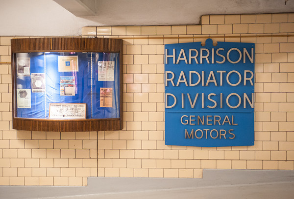 140418 GM JOED VIERA/STAFF PHOTOGRAPHER-Lockport, NY-A sign hangs in the entrance to the General Motors Harrison Radiator Division plant April 9, 2014.