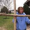 140418 Cross walk JOED VIERA/STAFF PHOTOGRAPHER-Barker, NY- Reverend Karen Smith reads the message of the cross at the Barker village Gazebo before the multiple congregational cross walk April 18, 2014.