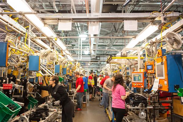 140418 GM JOED VIERA/STAFF PHOTOGRAPHER-Lockport, NY-A GM team assembles HVAC units for trucks at the General Motors Harrison Radiator Division plant April 9, 2014.