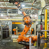140418 GM JOED VIERA/STAFF PHOTOGRAPHER-Lockport, NY-A robot assembles and test GM radiator units at the General Motors Harrison Radiator Division plant April 9, 2014.