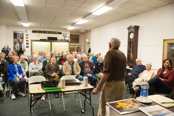 140326 WW2 JOED VIERA/STAFF PHOTOGRAPHER-Lockport, NY- World War 2 Veteran Everett Fitchlee speaks at the Lockport Historiacl Society on Mar.27, 2014.