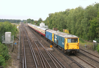 73207 Worting Junction 22/08/14 5Z31 Eastleigh to Acton Lane Reception Sidings with 73109