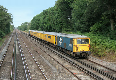73207 Old Basing 01/08/14 1Q05 Eastleigh to Hither Green with 73201 on the rear