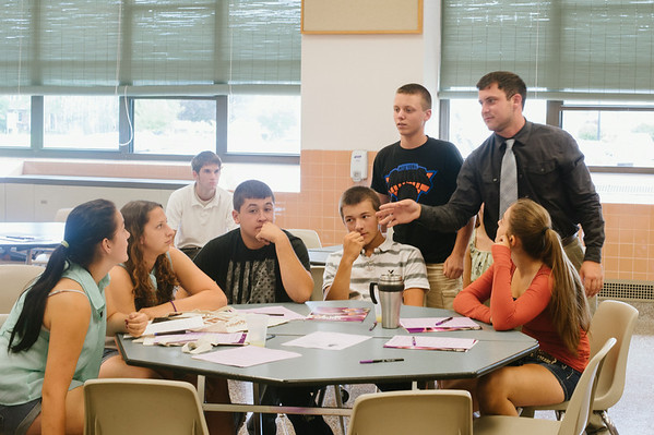 """JOED VIERA/STAFF PHOTOGRAPHER-Lockport, NY- A group of students prepare to present thier [roduct """"Google Mood"""" during the Academy of Finance at Barker High School on Tuesday, August 12th."""