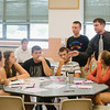 "JOED VIERA/STAFF PHOTOGRAPHER-Lockport, NY- A group of students prepare to present thier [roduct ""Google Mood"" during the Academy of Finance at Barker High School on Tuesday, August 12th."
