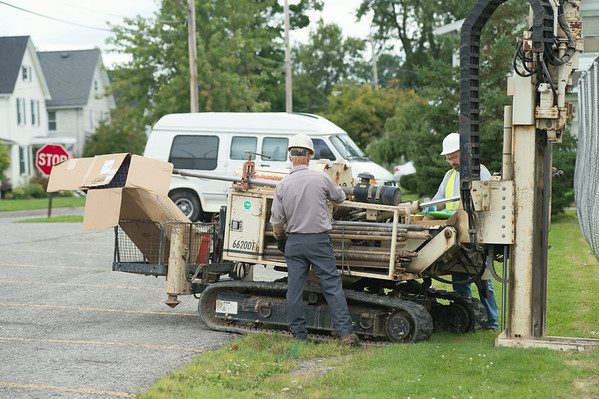 JOED VIERA/STAFF PHOTOGRAPHER-Middleport, NY- DEC Contractors collects soil samples on Thursday, August 14th.