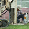 JOED VIERA/STAFF PHOTOGRAPHER-Middleport, NY- A DEC Contractor collects soil samples on Thursday, August 14th.