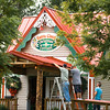 JOED VIERA/STAFF PHOTOGRAPHER-Lockport, NY- Contractors work on Santa's Christmas Cottage's  new porch Tuesday, August 12th.