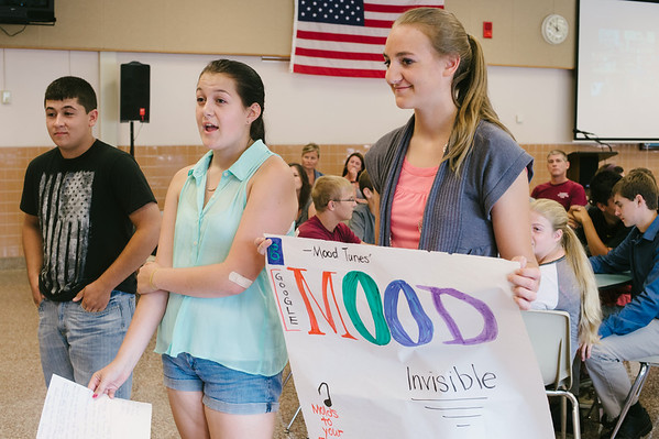 """JOED VIERA/STAFF PHOTOGRAPHER-Lockport, NY- Chauncey McKee, Alaina Israel and Eadie Fuerch present thier group's product """"Google Mood"""" during the Academy of Finance at Barker High School thier on Tuesday, August 12th."""