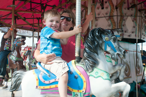 140801 JOED VIERA/STAFF PHOTOGRAPHER-Lockport, NY-Peggy Stahl and her grandson Landin Allen at the Niagara County Fair on Friday, August 1st.