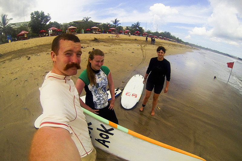After searching the whole internet and putting out feelers, it seemed the only place for beginner surf lessons around here was in Bali, so to Bali we went. Sun and surf wore out our skins quite quickly, but we were able to get our feet wet in the sport at least!