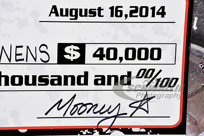 Batesville Motor Speedway's promoter's unique signature on the check in Victory Lane