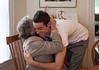 Benjamin giving a hug to Grandma José