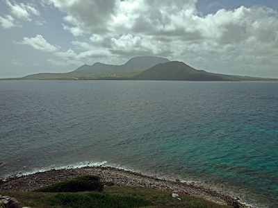 The views were magnificent! Here Nevis looks swimmable. Note also the lovely shallow grassy slope on the island's east side that I didn't know about when I climbed the cliff!