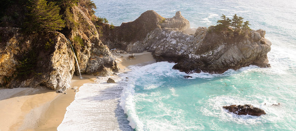 Waterfall onto Beach, Big Sur