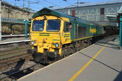 66544 1741/4s15 Drax-Hunterston coal working departs Carlisle.