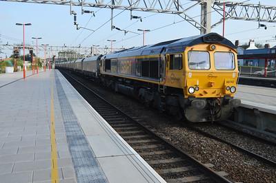 66742 0754/6G62 Liverpool-Ironbridge passes Stafford.