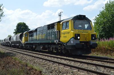 70002 1254/6F02 Ellesmere Port-Liverpool passes Warrington Yard.