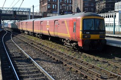 325001/002/016 1721/1m44 Sheildmuir-Warrington service arrives at Carlisle.