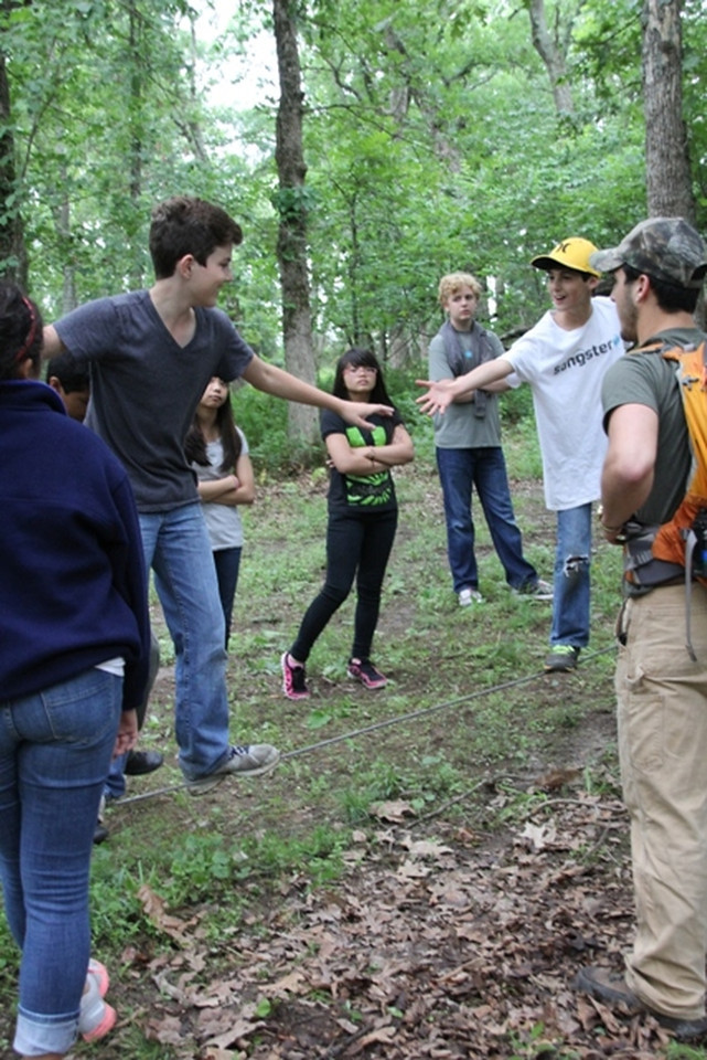 Monday, June 9: CIP at the Low Ropes course. Elijah is in the background watching.