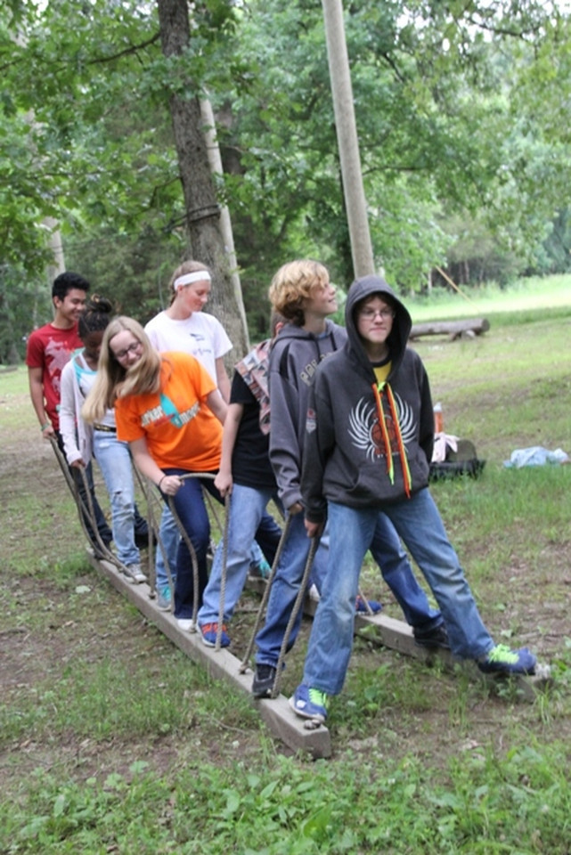 Monday, June 9: CIP at the Low Ropes course. Josh is second from the front.