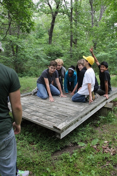 Monday, June 9: CIP at the Low Ropes course. They are all on the balance board!