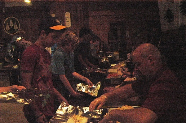 Monday, June 9: CIP does Foil Cookout Dinner. Josh is the second kid in line with the blue shirt on.