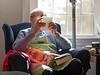 Grandpa Tor reading a card