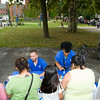 People receive information from Glenn Hines Memorial Boys & Girls Club at the Newburgh Enlarged City School District sponsored Back-to-School Backpack BBQ at the BOE/Library on Grand St in Newburgh on Saturday, August 23, 2014. Hudson Valley Press/CHUCK STEWART, JR.