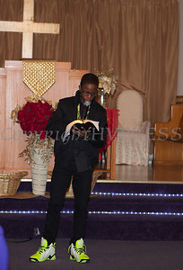 Emmanuel McLean offers a scripture reading at Empowerment Temple Intl. on Sunday, February 23, 2014 for their Black History Month event. Hudson Valley Press/CHUCK STEWART, JR.