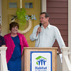 John Shafran, Hudson Valley Builders and Remodlers Association offers remarks as Habitat for Humanity of Greater Newburgh dedicated the Spearman and Martinez homes on East Parmenter St. in the City of Newburgh on Saturday, June 14, 2014 to complete the week long Builders Blitz. Hudson Valley Press/CHUCK STEWART, JR.