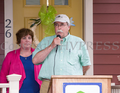 Sid Ketchum, PDJ Components, offers remarks as Habitat for Humanity of Greater Newburgh dedicated the Spearman and Martinez homes on East Parmenter St. in the City of Newburgh on Saturday, June 14, 2014 to complete the week long Builders Blitz. Hudson Valley Press/CHUCK STEWART, JR.