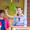 Martine Brown of M&T Bank, offers remarks as Habitat for Humanity of Greater Newburgh dedicated the Spearman and Martinez homes on East Parmenter St. in the City of Newburgh on Saturday, June 14, 2014 to complete the week long Builders Blitz. Hudson Valley Press/CHUCK STEWART, JR.