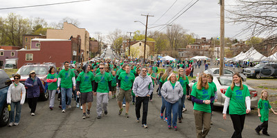 Hundreds of walkers head down Washington Street towards Liberty Street during Habitat for Humanity of Greater Newburgh's 15th Annual Walk for Housing on Sunday, April 27, 2014 in the City of Newburgh, NY. Hudson Valley Press/CHUCK STEWART, JR.