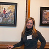 """The Howland Cultural Center in Beacon celebrated Women's History Month with an art exhibit that featured work by many artists including Charlotte Guernsey, which opened on Saturday, March 1, 2014. Guernsey poses with her oil on canvas paintings titled """"The Hunt"""" and """"The Hounds"""". Hudson Valley Press/CHUCK STEWART, JR."""