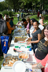 Members of the Newburgh community were treated to a great meal in Downing Park as part of the I'm So Newburgh Stop the Violence event on Saturday, August 23, 2014. Hudson Valley Press/CHUCK STEWART, JR.