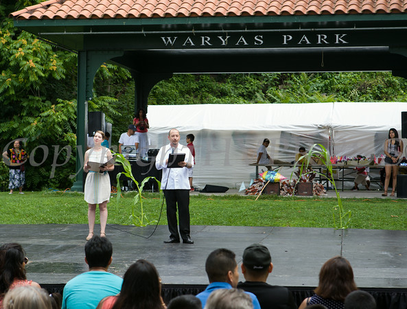 Elizabeth Celaya and Aldo Cano introduces the performers during the sixth annual La Guelaguetza which was held in Waryas Park in Poughkeepsie, NY on Sunday, August 3, 2014. Hudson Valley Press/CHUCK STEWART, JR.