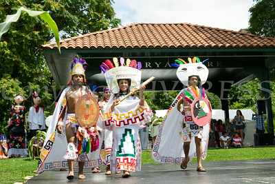 Performers entertain hundreds of people gathered for the sixth annual La Guelaguetza held in Waryas Park in Poughkeepsie, NY on Sunday, August 3, 2014. Hudson Valley Press/CHUCK STEWART, JR.