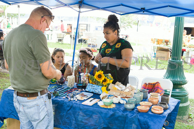 Mercedes Martinez of Anakachi Natural Beauty at the sixth annual La Guelaguetza which was held in Waryas Park in Poughkeepsie, NY on Sunday, August 3, 2014. Hudson Valley Press/CHUCK STEWART, JR.