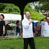 Aldo Cano welcomes everyone to the sixth annual La Guelaguetza which was held in Waryas Park in Poughkeepsie, NY on Sunday, August 3, 2014. Hudson Valley Press/CHUCK STEWART, JR.