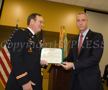 Rep. Sean Patrick Maloney presented Colonel James P. Monagle with the Army Corps of Engineeer's Bronze de Fleury Medal during a ceremony at the Armed Forces Reserve Center at Stewart Airport on Friday, October 17, 2014. Hudson Valley Press/CHUCK STEWART, JR.