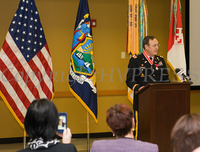 Colonel James P. Monagle offers remarks after receiving the Legion of Merit Medal and the Army Corps of Engineer's Bronze de Fleury Medal during a ceremony at the Armed Forces Reserve Center at Stewart Airport on Friday, October 17, 2014. Hudson Valley Press/CHUCK STEWART, JR.