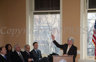 Council member Genie Abrams addresses those gathered for the swearing-in of new council members at Newburgh's City Hall on Saturday, January 11, 2014. Hudson Valley Press/CHUCK STEWART, JR.