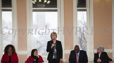 Mayor Judy Kennedy (center) addresses those gathered for the swearing-in of new council members at Newburgh's City Hall on Saturday, January 11, 2014. Hudson Valley Press/CHUCK STEWART, JR.