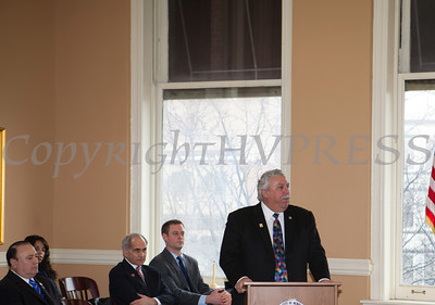 Orange County Legislator James Kulisek addresses those gathered for the swearing-in of new council members at Newburgh's City Hall on Saturday, January 11, 2014. Hudson Valley Press/CHUCK STEWART, JR.