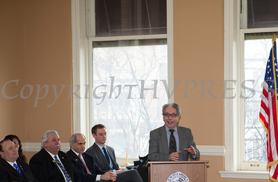 Former City of Newburgh Mayor Nicholas Valentine addresses those gathered for the swearing-in of new council members at Newburgh's City Hall on Saturday, January 11, 2014. Hudson Valley Press/CHUCK STEWART, JR.